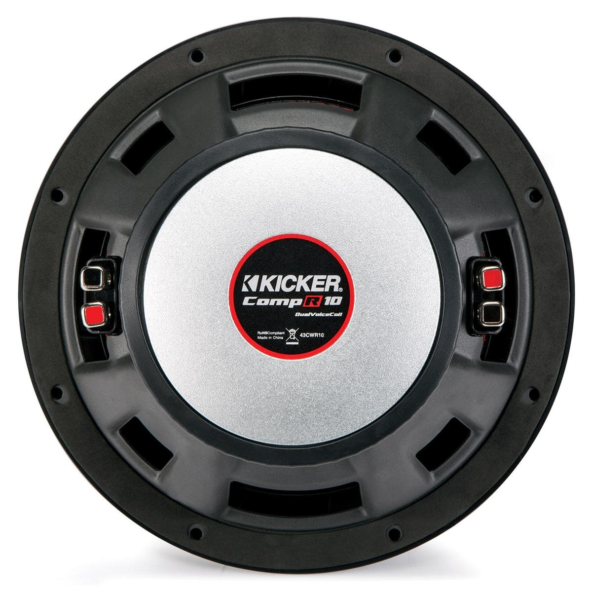 Kicker 10'' 1600W 2-Ohm Vented Dual Loaded Car Enclosure Subwoofers | 43DCWR102