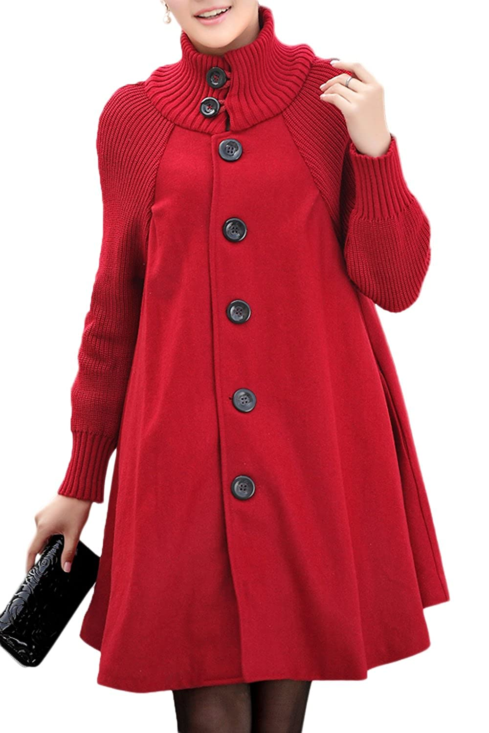 Women's Loose Half-high Collar Knit Single Breasted Jacket Coat CATNLY7
