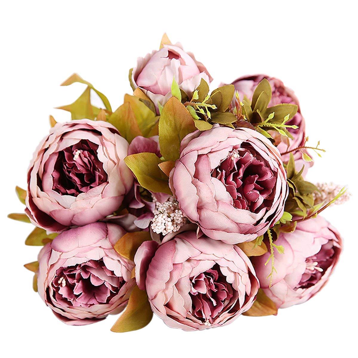 Amazon.com: Bringsine Vintage Artificial Peony Silk Flowers Bridal ...