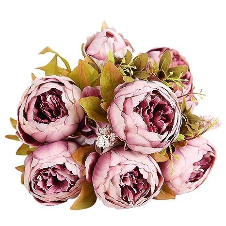 Bringsine Vintage Artificial Peony Silk Flowers Bridal Bouquet Home