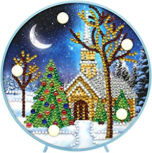 Christmas Diamond Painting LED Light 5D by Number Kits Christmas Gifts or Embroidery Craft for Home Decoration-6.0in X 6.0in(ZXD079)