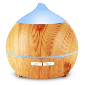 Avaspot 250ml Essential Oil Diffuser Aromatherapy Aroma Diffuser Wood Grain Humidifier, Ultrasonic Adjustable Cool Mist, Waterless Auto Shut-Off and 7 Color LED
