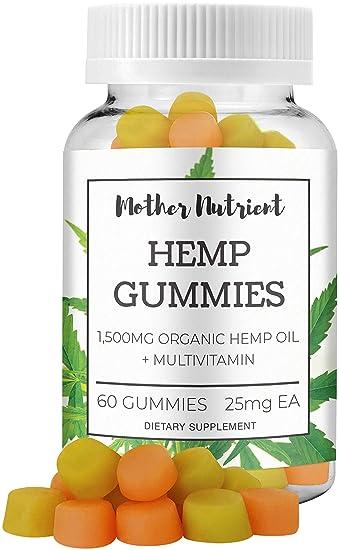 Hemp Gummies By Mother Nutrient 1 500 MG Of Hemp Oil 60 Gummy Bears W 25 MG Per Gummy