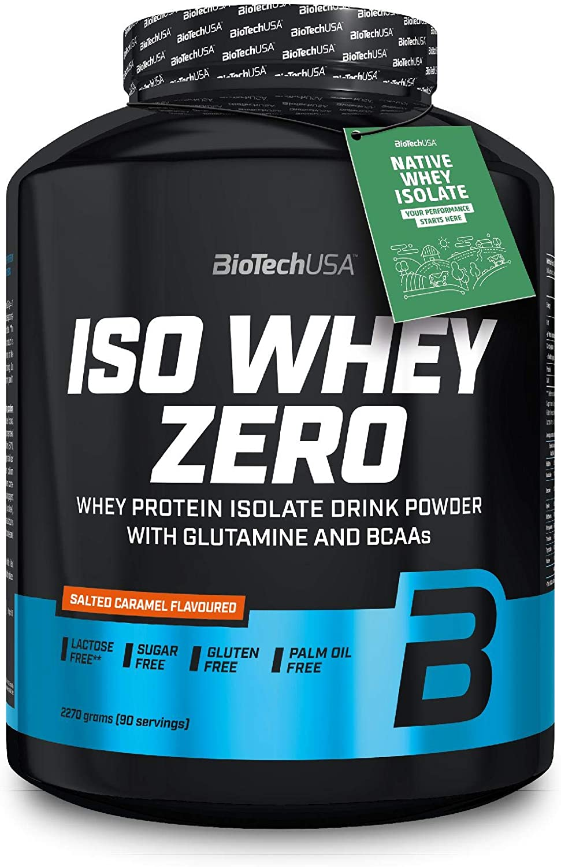 BioTechUSA Iso Whey ZERO, Lactose, Gluten, Sugar FREE, Whey Protein Isolate, 2.27 kg, Caramelo salado