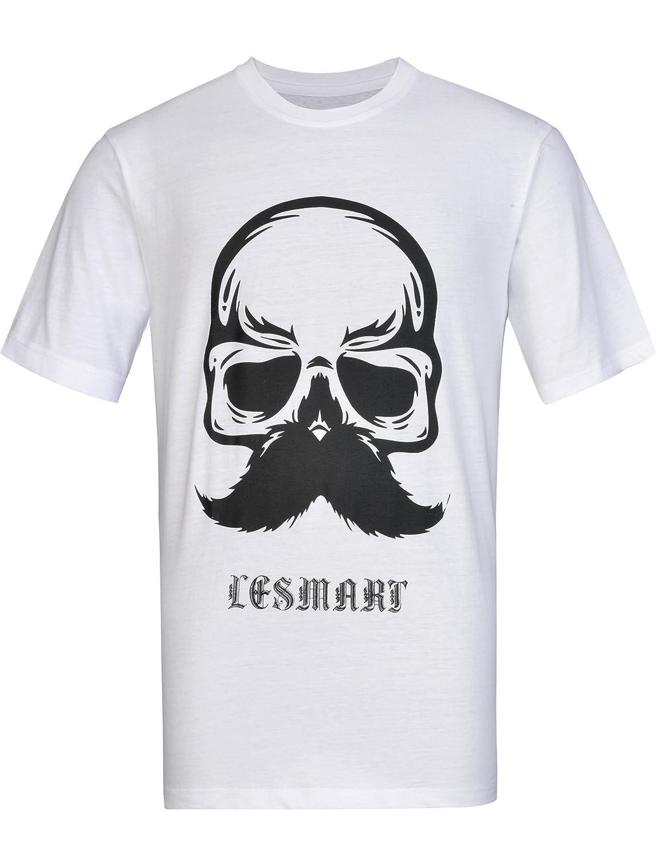 Lesmart Men's T-shirts Printing Skull Letter Hip Hop Pure Cotton Crew Neck Tops