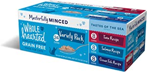 WholeHearted Grain-Free Tastes of The Sea Minced in Gravy Wet Cat Food Variety Pack, 2.8 oz., Count of 24