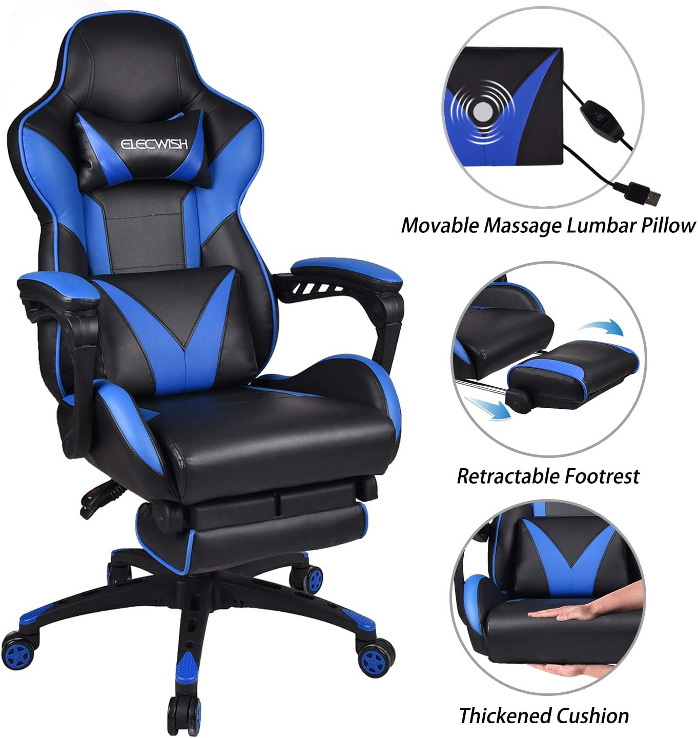 ELECWISH Massage Computer Gaming Chair Reclining Ergonomic Racing with Footrest High Back PU Leather with Headrest and Lumbar Support Blue