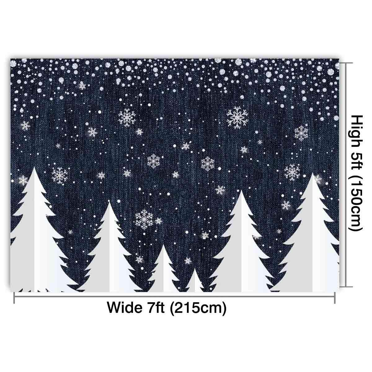Funnytree 7x5ft Denim And Diamonds Christmas Tree Backdrop Winter Snow Sprinkle Photography Background Glitter Sparkle Girl Party Banner Baby Portrait
