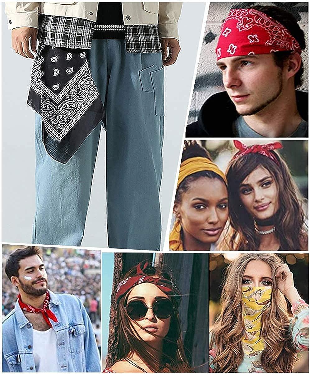 Sllaiss 14pcs Novelty Bandanas Cowboy Paisley Print Headband Multi Colored Head Scarfs Cowboy Bandanas Face Scarf Headband for Men Women 22 x 22 inch: Clothing