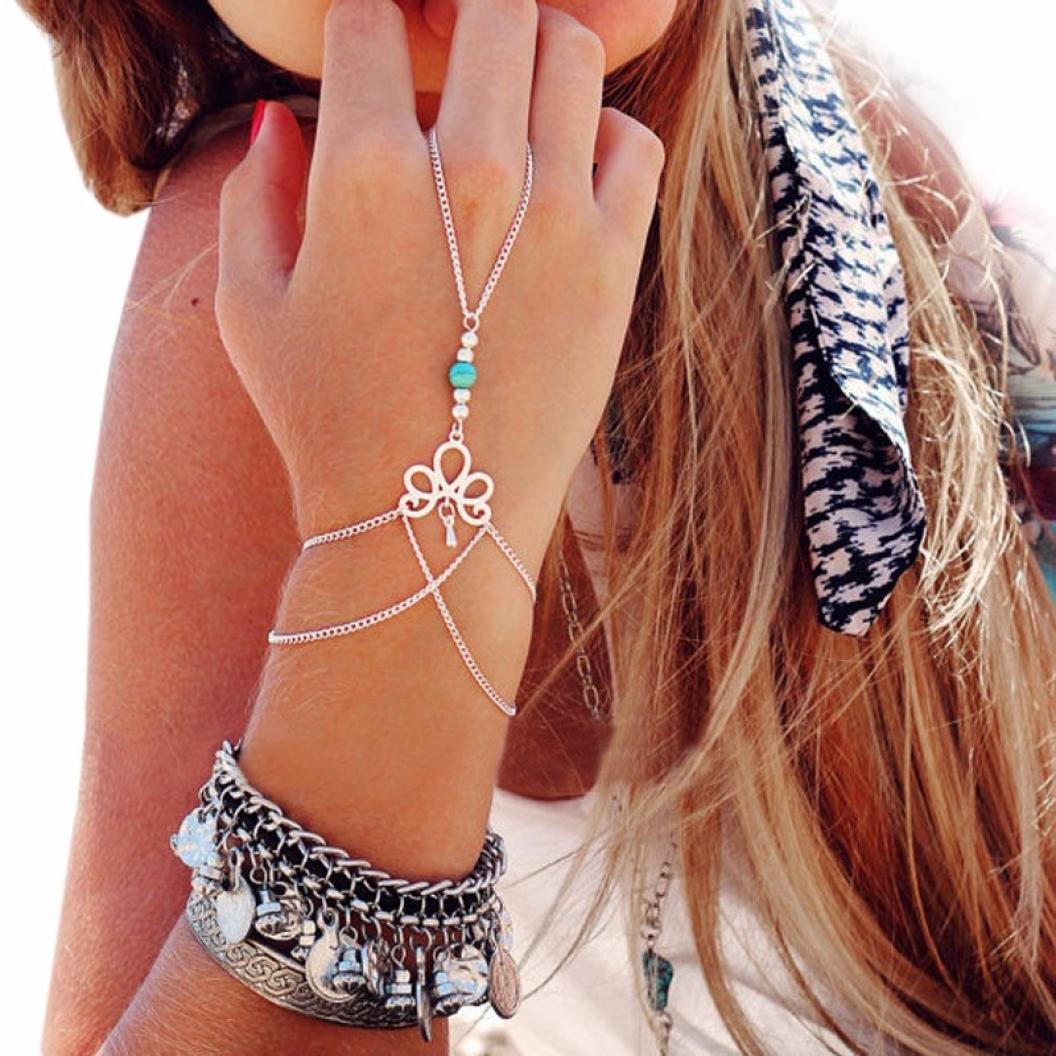 Molyveva Women Girls Hand Harness Bracelet Crystal Turquoise Beads Bracelet Linked Slave Finger Ring