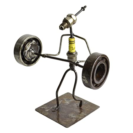 Swahili African Modern Recycled Spark Plug Weight Lifter Metal Sculpture