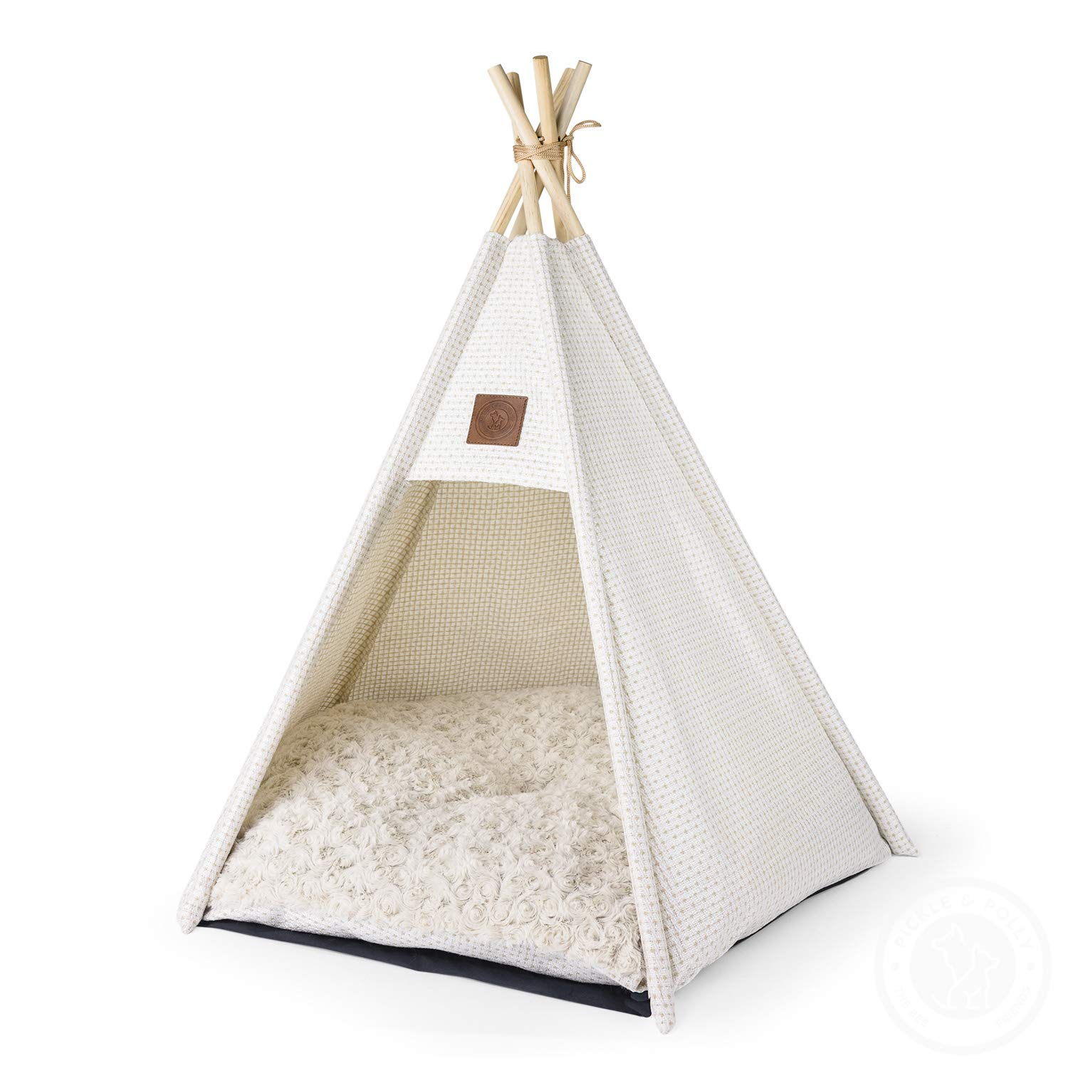 Pickle & Polly - Medium Dog Bed Teepee/Tent for Dogs & Cats - Stylish, Soft, Cozy Dog Bed w/Thick Plush Pad, Durable Fabric & Machine Washable (White) by Pickle & Polly