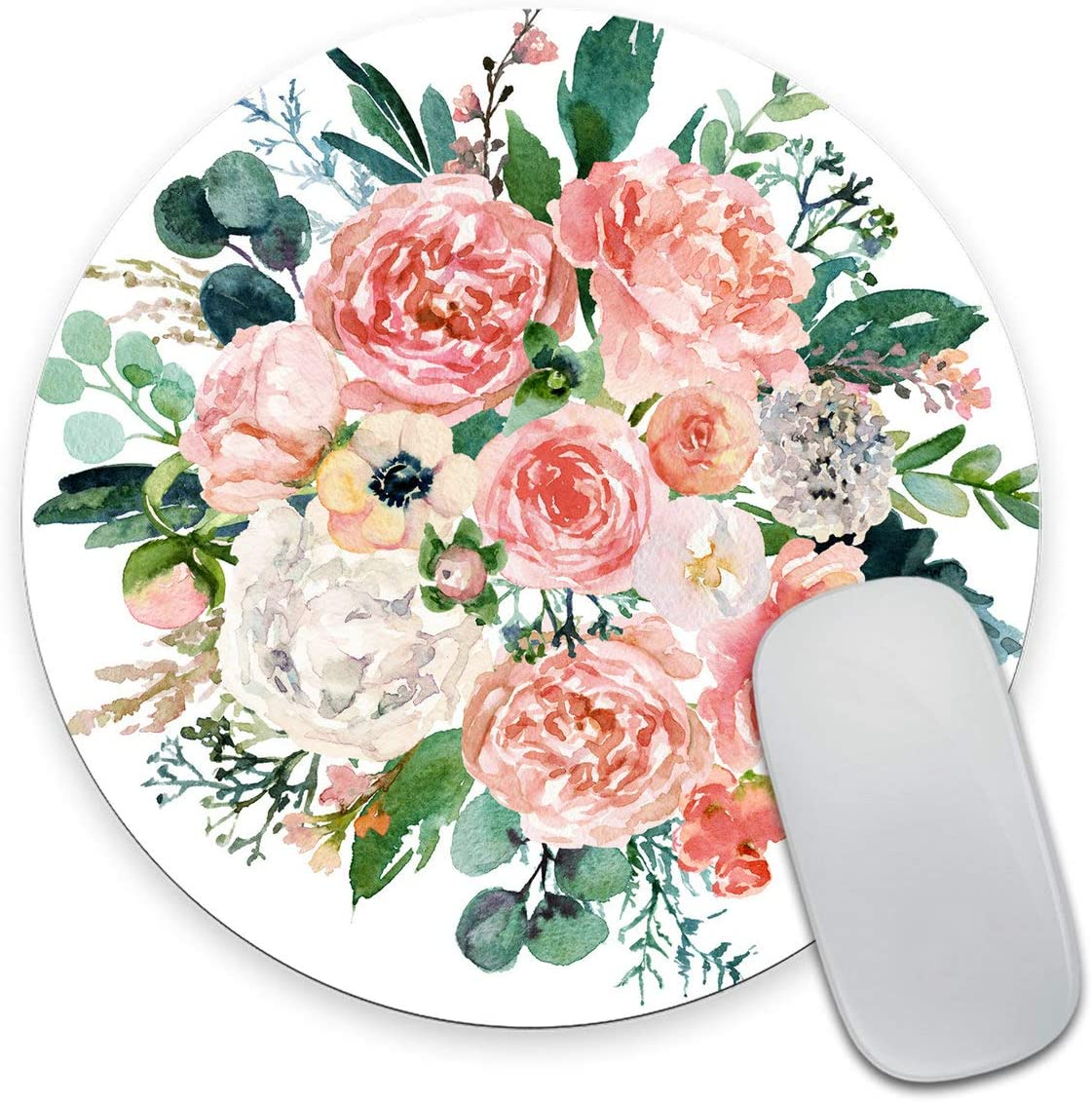 Smooffly Watercolor Floral Round Mouse pad Custom,Bright Pink Vivid Flowers Mouse Pads for Computers Laptop, Green Leaves Circular Non-Slip Rubber Mousepad