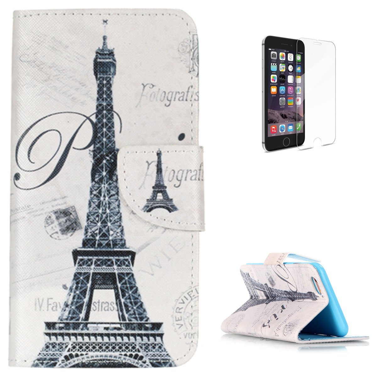 iPhone 6/6S 4.7' Flip Leather Wallet Case KaseHom [Free Screen Protector] Paris Eiffel Tower Design Magnetic with [Function Card Slots][Kickstand] Slim Durable Anti Scratch Bumper Cover Holster CasesHome CHIP6-185171