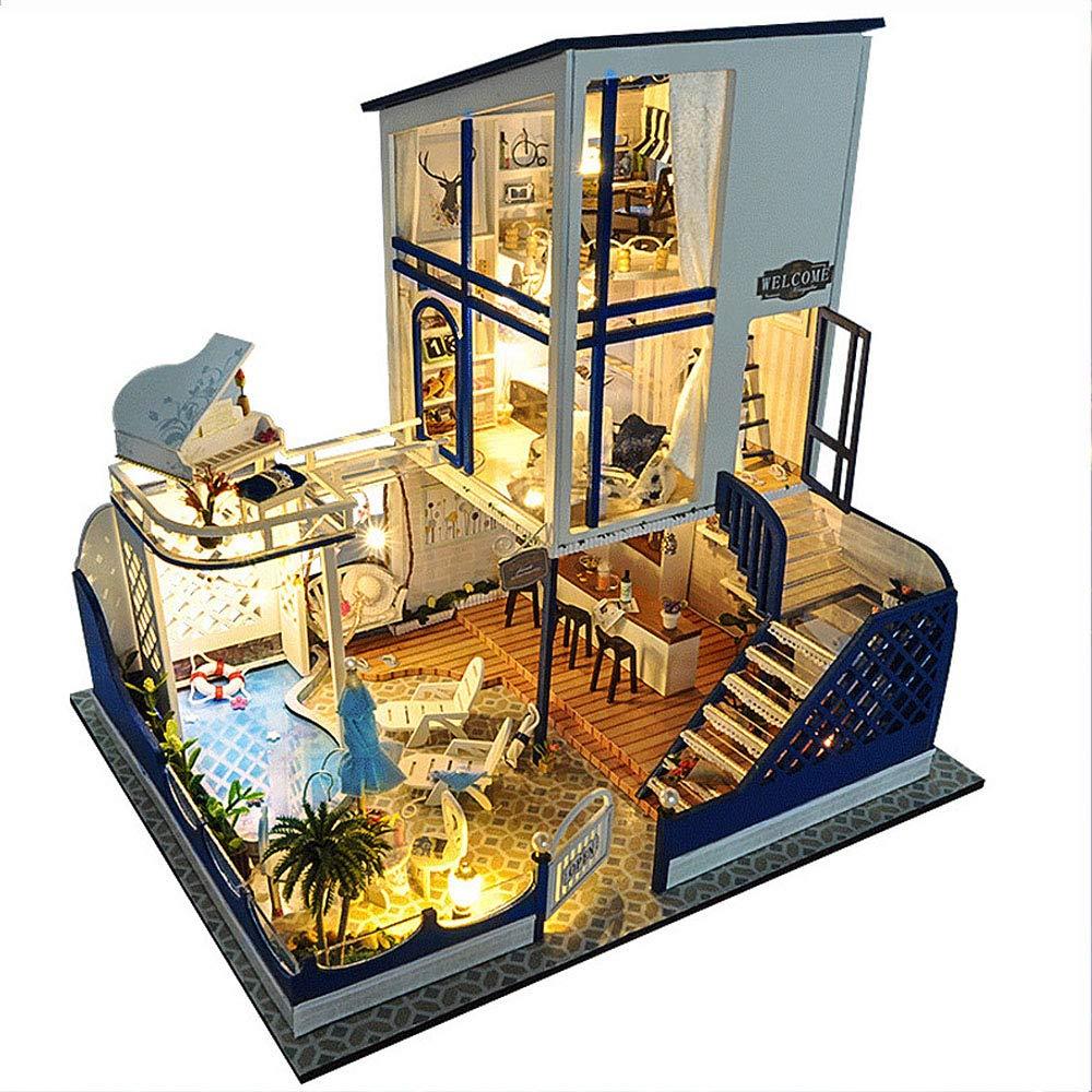 AHXMA Puppenhaus Miniatur DIY Puppenhaus Mit Möbeln Holzhaus Spielzeug Für Kinder Kathy Blaume Haus