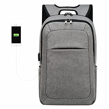 Kopack Slim Business Laptop Waterproof Daypack fits up to 15.6 Inch fabric  Grey Backpack ec2a6678f737d