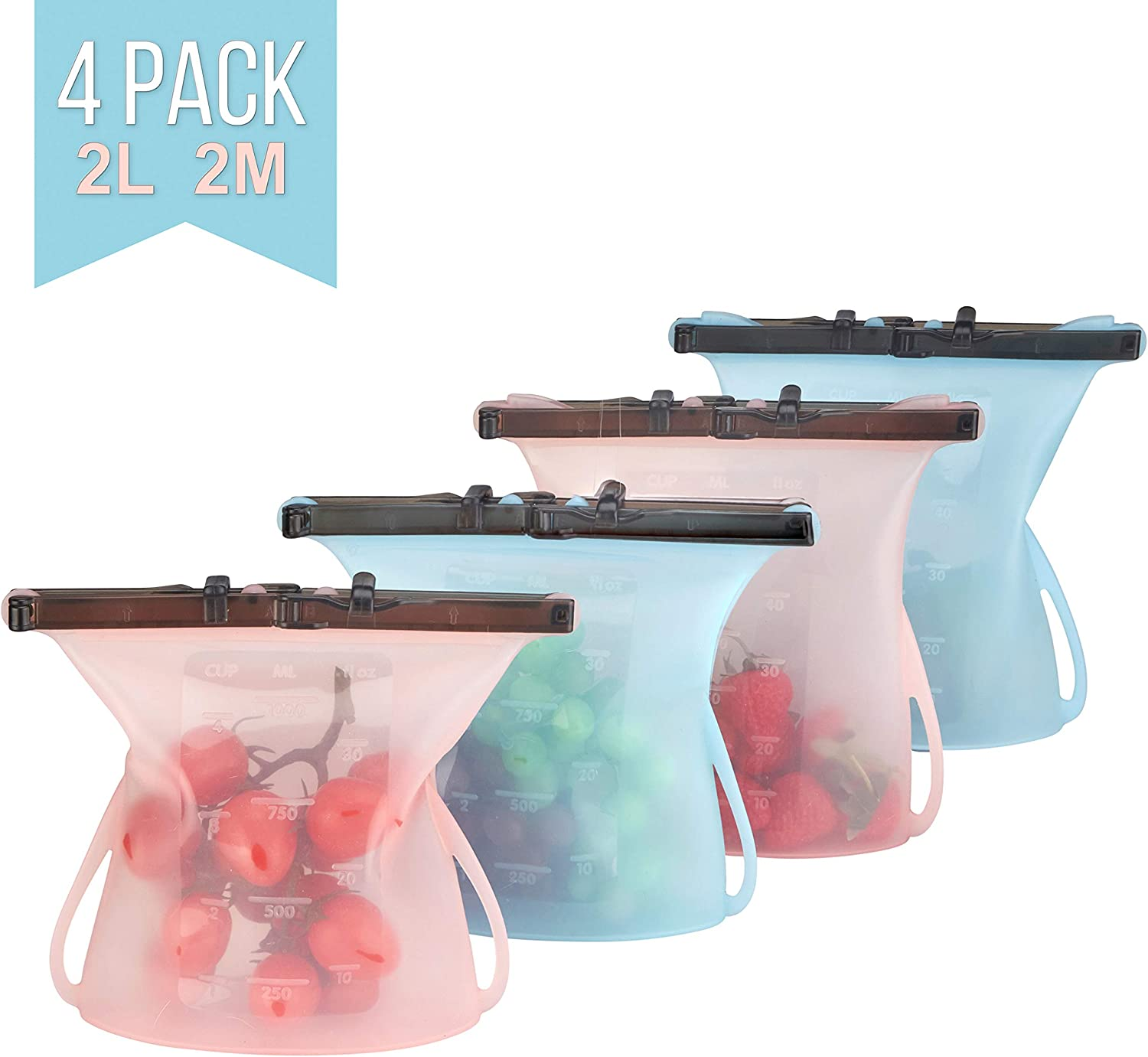 Silicone Food Storage Bags Reusable Leakproof Freezer Dishwasher Microwave Versatile Airtight Seal Clip Food Preservation Container for Sandwich Snack Lunch Fruit Milk Veggies Ziplock - 4 Pack
