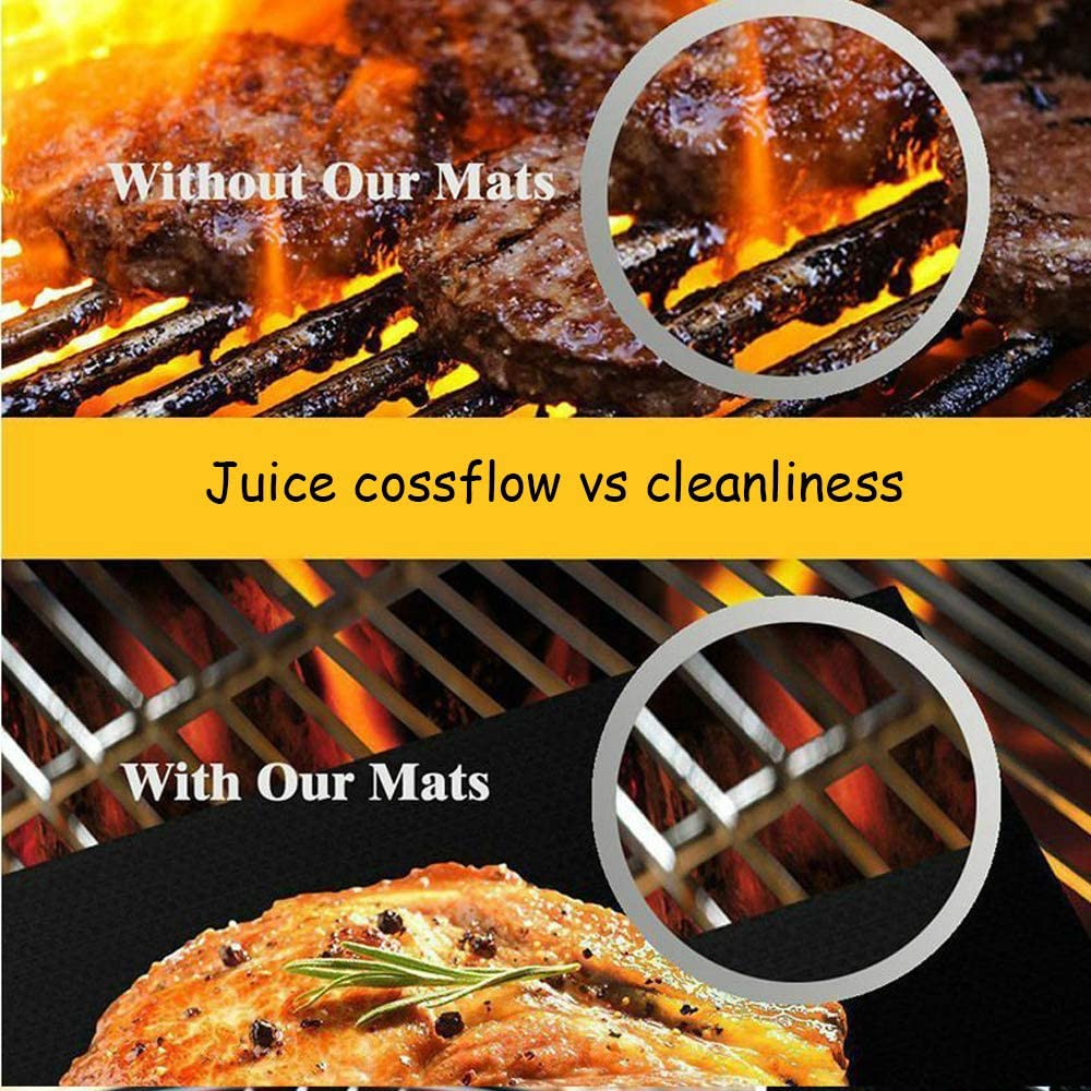 Heat Resistant Teflon Cooking Mats for Grilling Meat MEQUER BBQ Grill Mat set,3pc Non Stick Reusable Barbecue Mat for Gas Includes oil Brush and Barbecue Clip Charcoal and Electric Grills Seafood Veggies