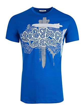 Versace Collection V800591S VJ00134 T-shirt Bleu Blue V7023 Homme ... cd25f945816