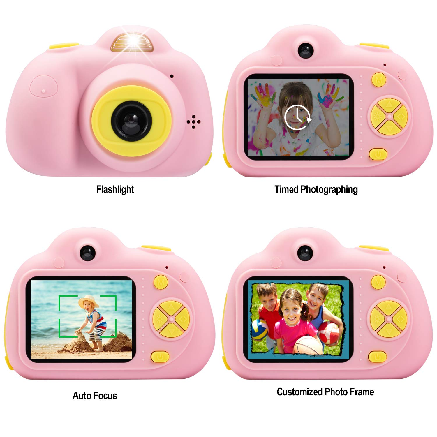 Abdtech Kids Camera Video Cameras Gifts for Girls, Mini Rechargeable Children Shockproof Digital Camcorders Little Girl Toys Gift 8MP with Battery 2 Inch Screen 16GB SD Card ( Pink ) by Abdtech (Image #6)