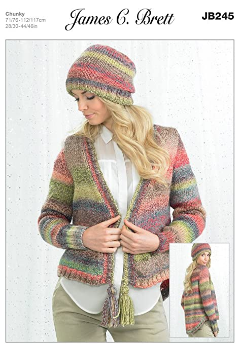 b7b90ff41cdc Ladies Cardigan and Hat JB245 Knitting Pattern from James C Brett. Knit  with Marble Chunky wool. Sizes 71-117cm 28-46 inch  Amazon.co.uk  Kitchen    Home