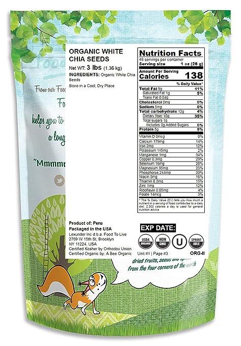 Semillas de chia blanco orgánico, 8 Onzas - no OMG, kosher ...