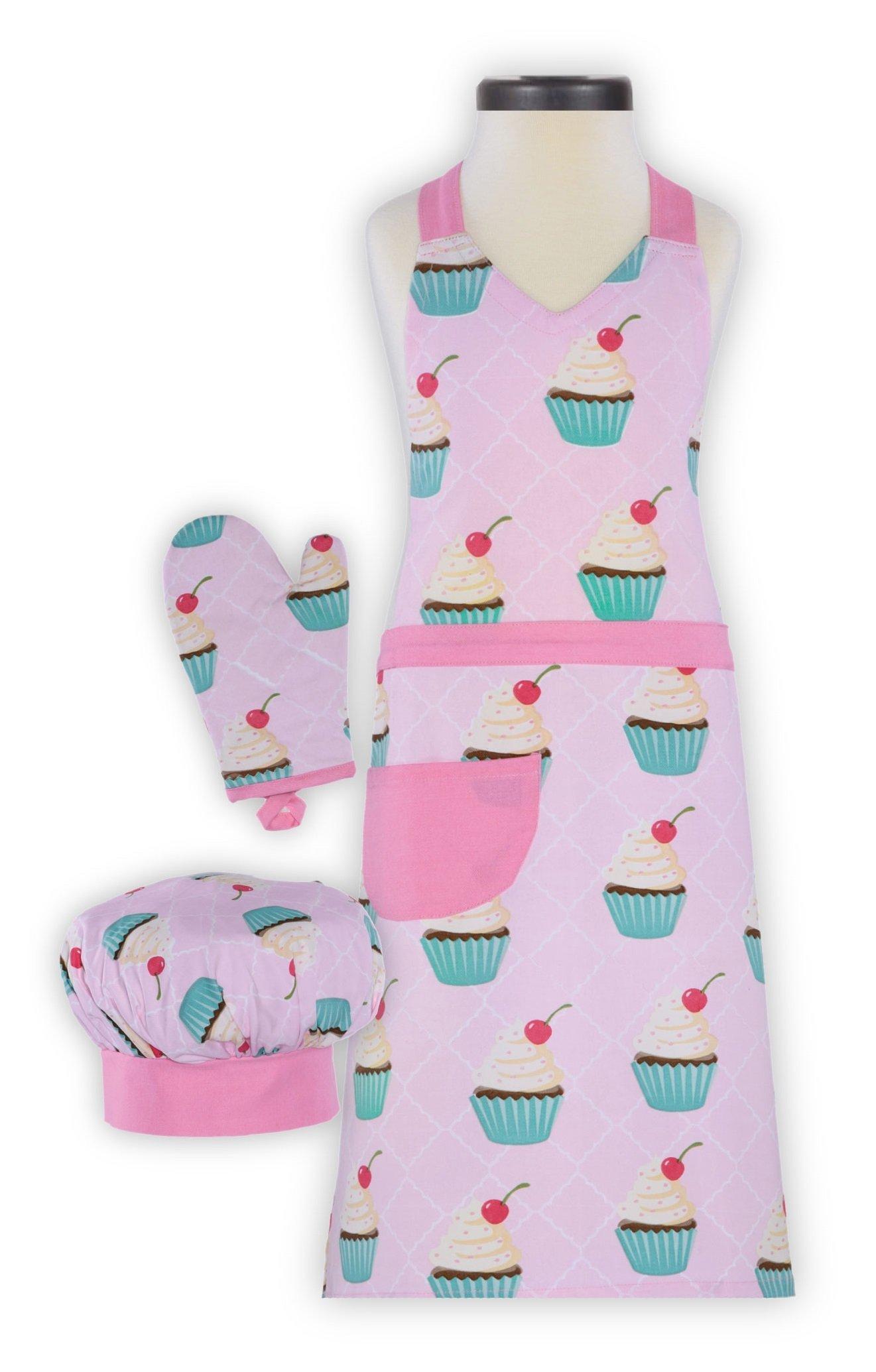Handstand Kitchen Child's Cupcake Delight 100% Cotton Apron, Mitt and Chef's Hat Gift Set