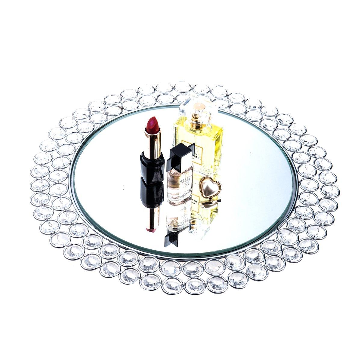 Feyarl Crystal Mirrored Jewelry Tray Cosmetic Organizer Vanity Tray Decorative Tray (Silver)