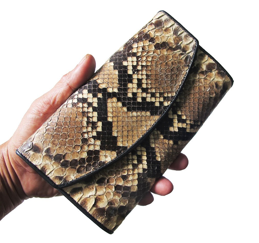Thai Unique And Genuine Bifold Long Wallet Python Size Closed 4.0 X 7.0 Inches Inside Many Compartment 4 Big Compartment 1 With Zipped