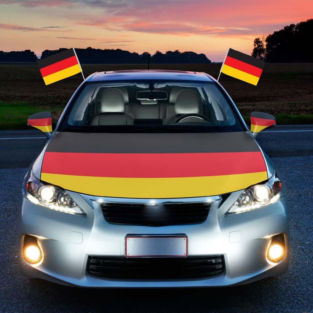 HAIGOU 2018 World Cup Fuß ball Autohauben Abdeckung in Deutschlandsfarben Fahne Flagge Deutschland with Auto Spiegelü berzieher Autofahne