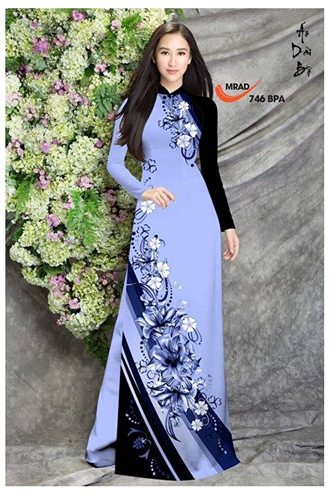 Traditional Vietnamese Long Dress Collections with Pants ADVN00161 Silk 3D Ao Dai All Size