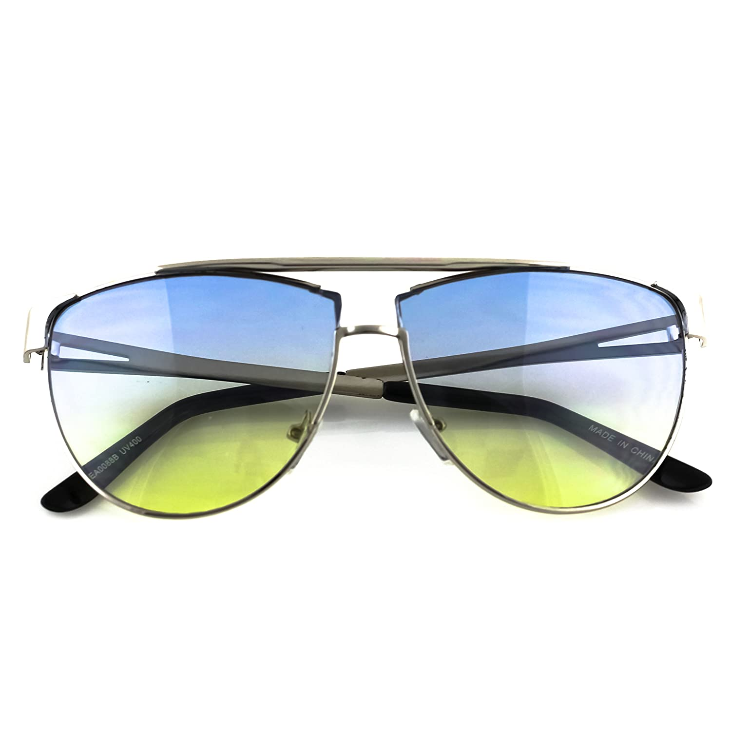 Elite FLAT TOP Aviator Multicolored Groovy Gradient Metal Frame Men Women Retro Sunglasses