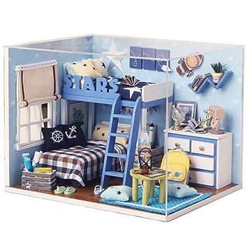 Qearly Mode Holz Mini Haus Schlafzimmer Miniatur Puppenhaus Moebel DIY  Dollhouse Kit Mit Abdeckung Und LED