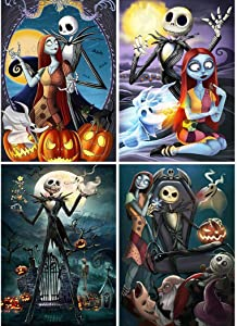 4 Pack 5D Full Drill Diamond Painting Kit, UNIME DIY Diamond Rhinestone Painting Kits for Adults and Beginner Embroidery Arts Craft Home Decor, 16 X 12 Inch (Halloween Jack Sally Skull)