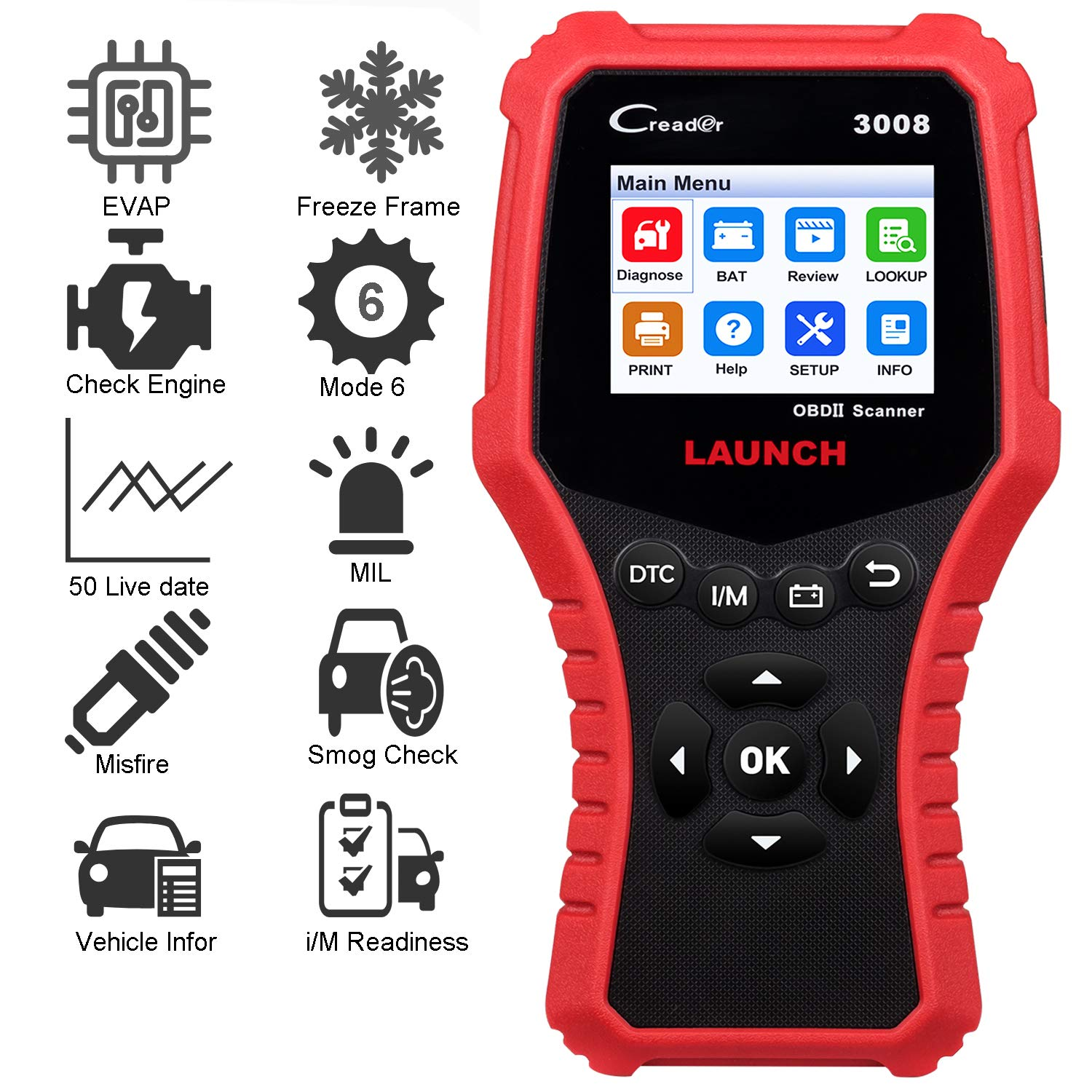 LAUNCH Creader 3008 OBD2 Scanner Automotive Car Diagnostic Tool Support  Full OBD2 Function with Battery Voltage Testing Function OBDII Engine Code