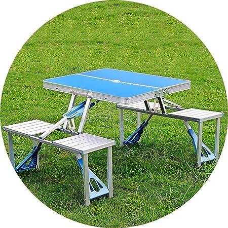 MLX Juego de mesas Plegables portátiles, Mesa de Comedor de Aluminio, multifunción, Plegado rápido, Fiesta de Picnic Interior y Exterior, 3 Colores (con 4 sillas) (Color : Blue): Amazon.es: Hogar