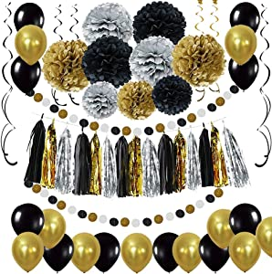 Black and Gold Party Decorations - DIY Tissue Paper Pom Poms Flowers, Tassel, Balloons, Hanging Swirl, Paper Circle Garland for Graduation and Retirement Party Decor