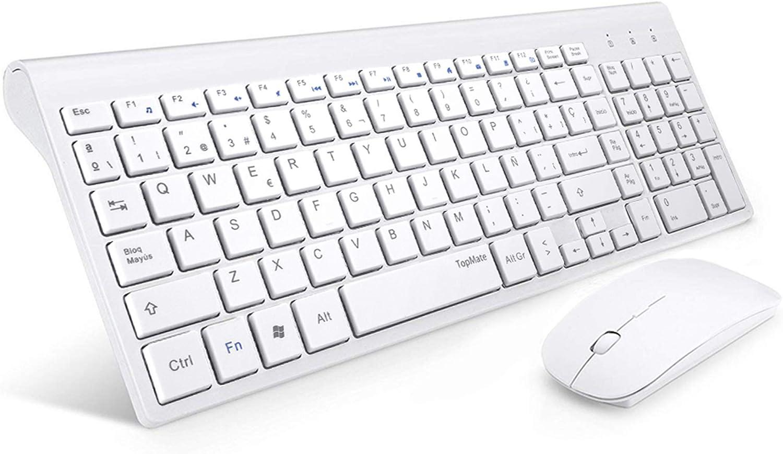 TopMate. Combinación de Teclado y Mouse inalámbricos Teclado Ultra Delgado con Ratones mudos | Diseñado para Oficina y Uso doméstico Suavemente | Blanco