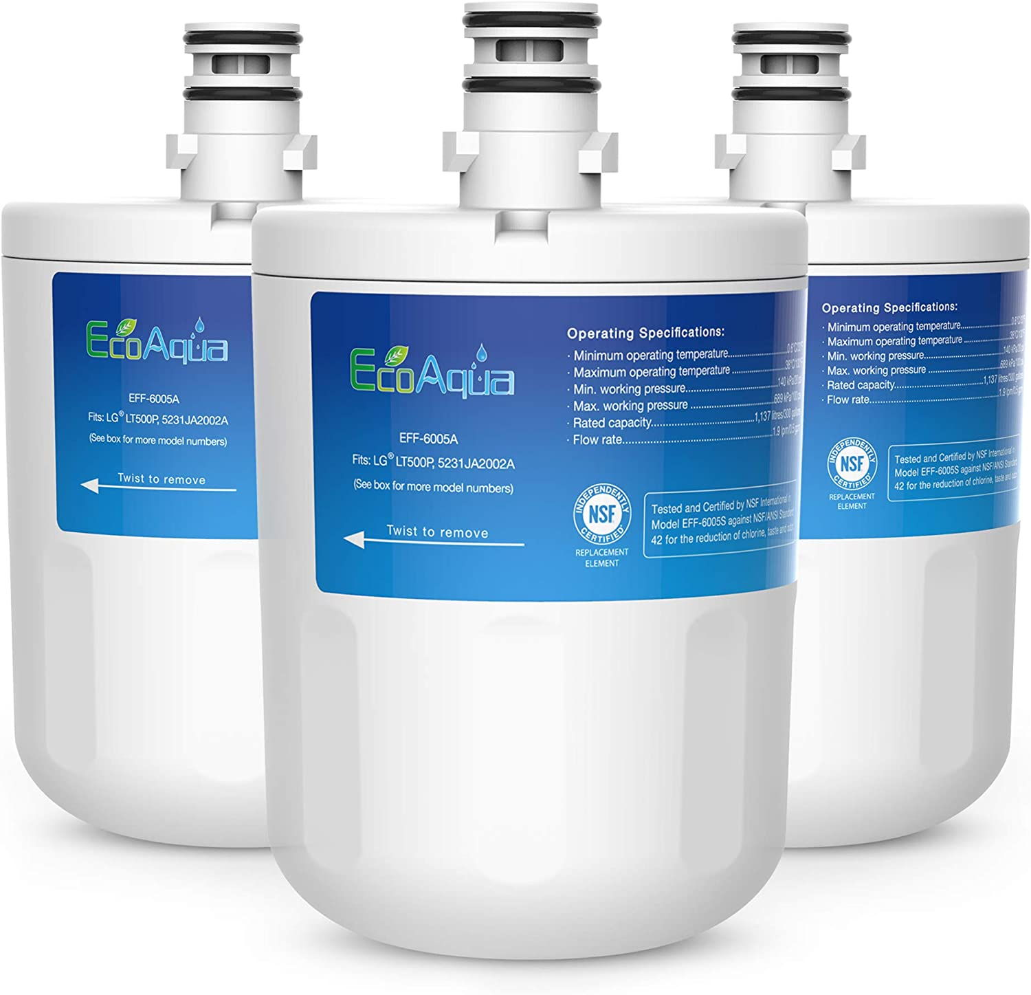 EcoAqua EFF-6005A Replacement Filter, Compatible with LG LT500P, 5231JA2002A, ADQ72910901, Kenmore GEN11042FR-08, 9890, 46-9890, 3 Pack
