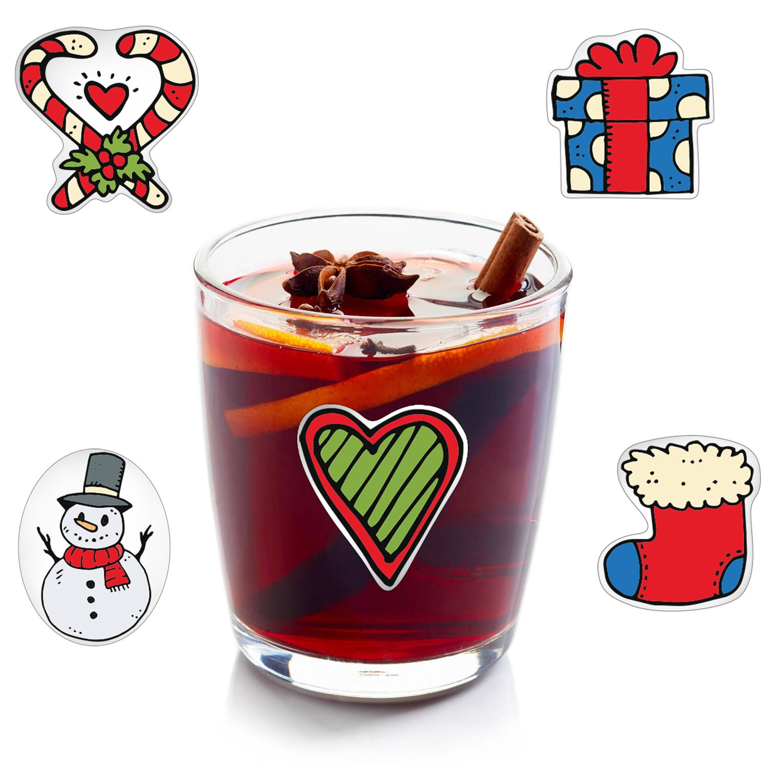 Wine Charms Alternative LULU d.o.o. Christmas Wine Glass Drink Markers 18 Static Cling Reusable Stickers Christmas