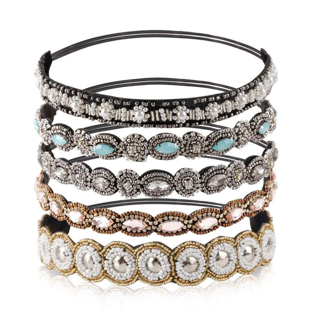 Teenitor Rhinestone Beaded Elastic Headband, Fashionable Handmade Crystal Beaded Elastic hairbands Lady Women Girls Hair Jewelry Accessories, 20-26.8 Fits for Most, 5 Pieces 20-26.8 Fits for Most