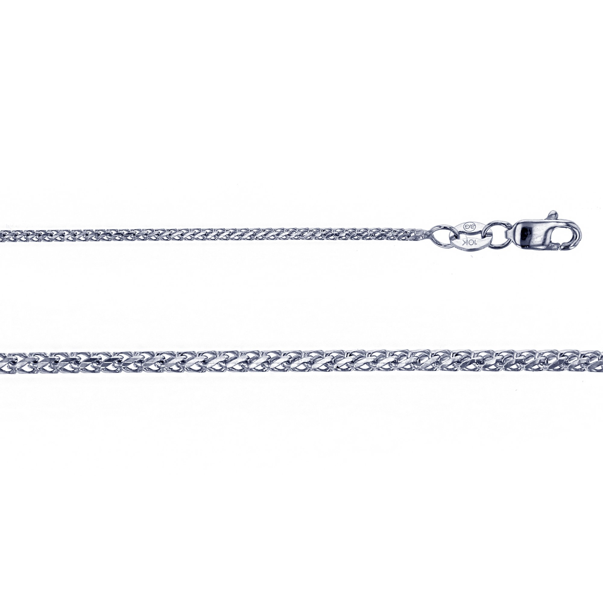 14K White Gold 1.21mm 18'' Solid Franco 035 Chain by Decadence