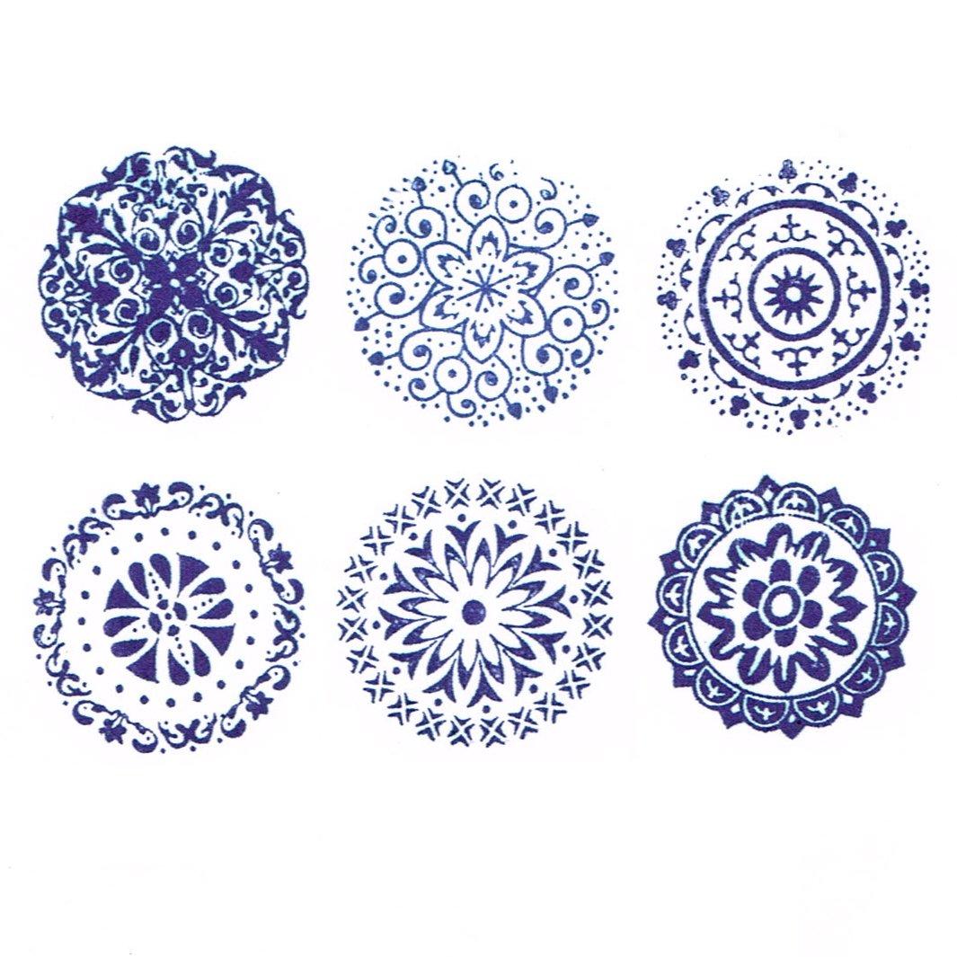 Stempel; Motiv: Verschiedene Blumen knora 6 Ornamente//Florale Designs; 3 cm Durchmesser Stempelset // 6 Vintage Teiliges Vintage