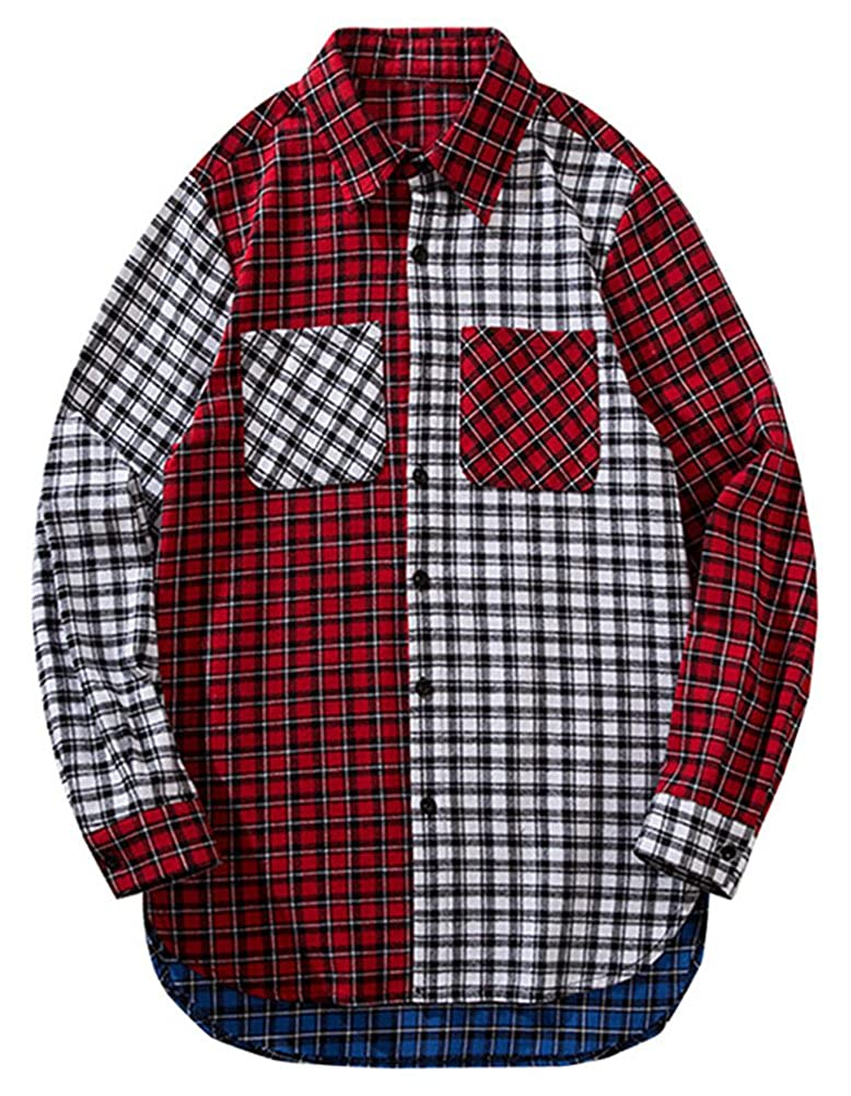 LifeHe Men Women Casual Plaid Flannel Patchwork Hipster Shirt Oversized