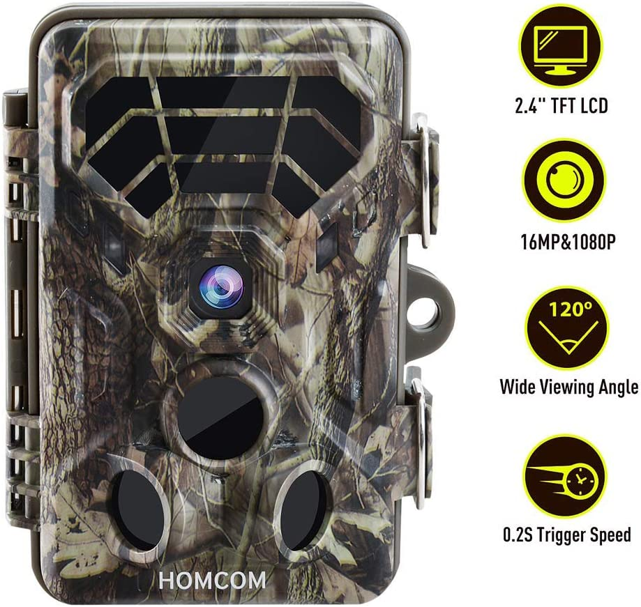 HOMCOM 16MP Trail Camera 2.4 Color Screen Game Camera with Low Glow Night Vision Up to 65ft, 0.2s Trigger Time Motion Activated, IP66 Waterproof