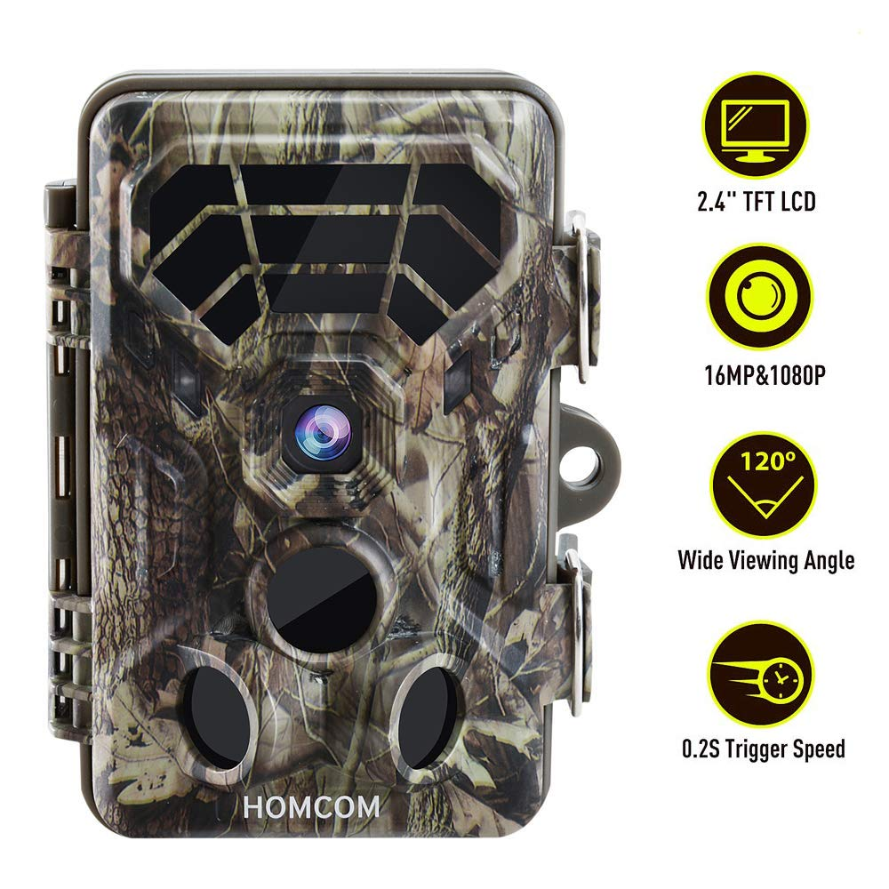 HOMCOM Trail Camera 16MP 1080P, Game Camera with Low Glow Night Vision Up to 65ft, 0.2s Trigger Time Motion Activated, 2.4'' Color Screen IP66 Waterproof Wildlife Hunting Camera