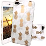 iPhone 7 Plus Case, iPhone 8 Plus Case, JAHOLAN Shiny Gold Pineapple Gray Marble Design Clear Bumper Matte TPU Soft Rubber Silicone Cover Phone Case for Apple iPhone 7 Plus / iPhone 8 Plus