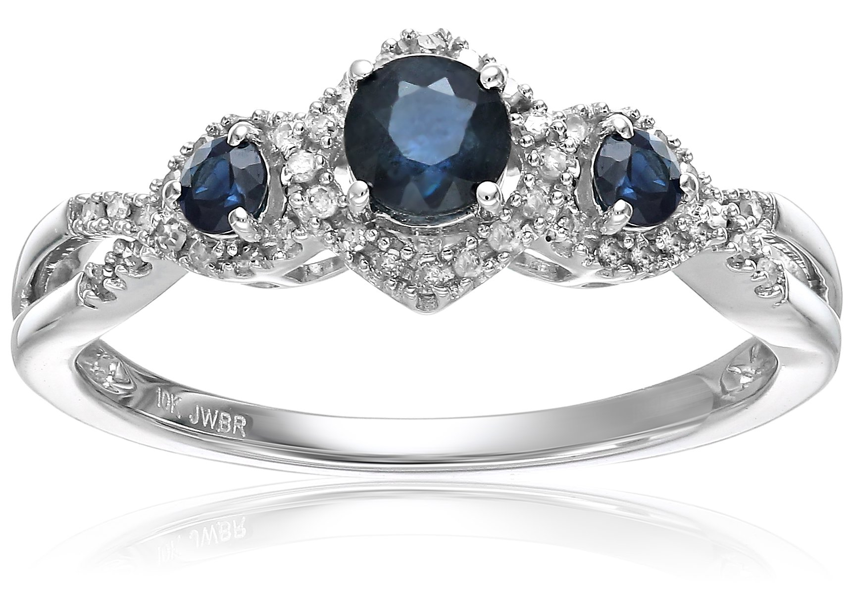 10k White Gold Sapphire with White Diamond 3-Stone Engagement Ring, Size 7