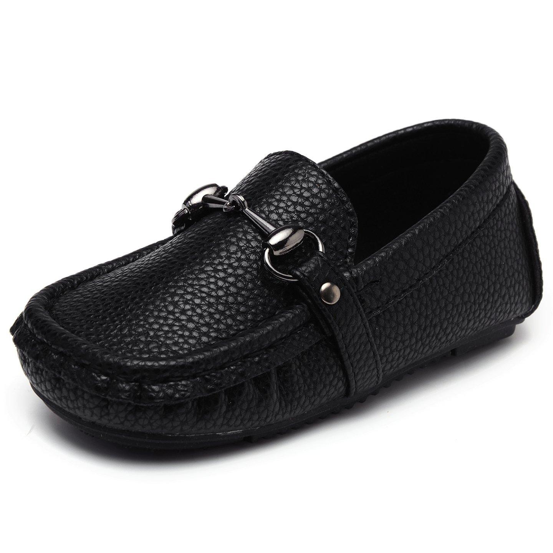 UBELLA Toddler Boys Girls Soft Split Leather Slip-On Loafer Boat Dress Shoes,Black,8.5M US Toddler