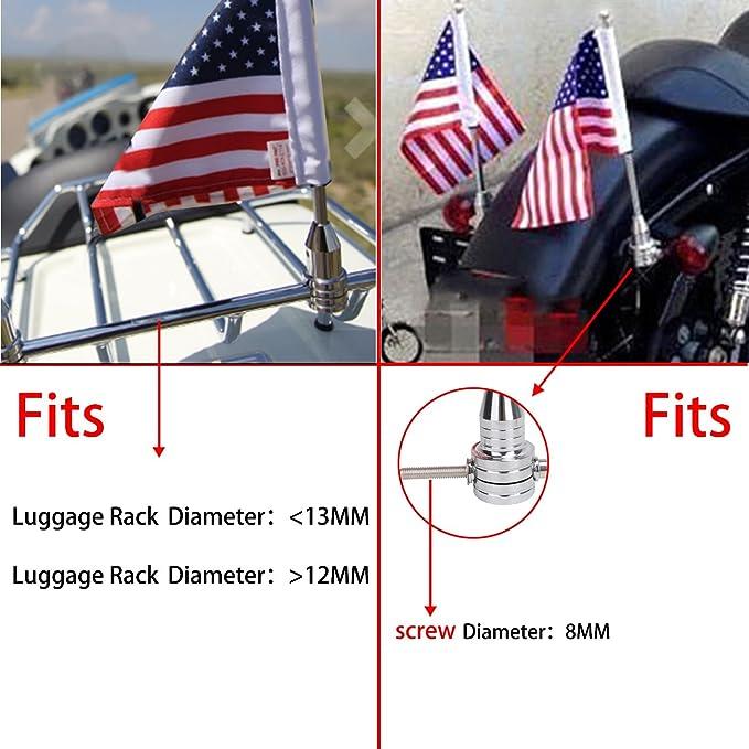 6 x 9 Thin Blue Line USA Flag,Fit for 1//2 Round Luggage Rack,for Honda Goldwing CB VTX CBR Yamaha Harley Davidson buyinhouse Rear Motorcycle Flag Pole Mount